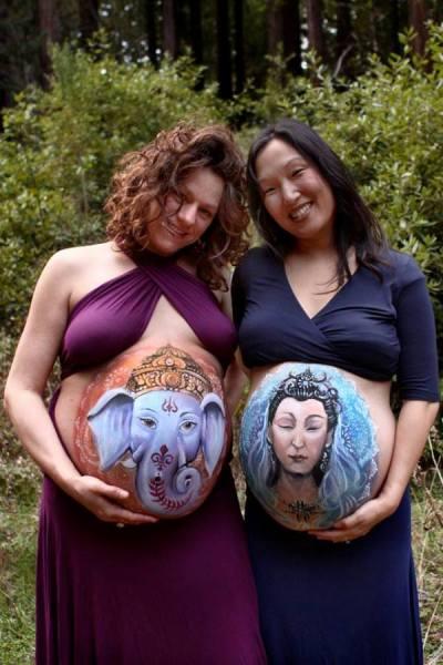 Бодиарт для беременных женщин.