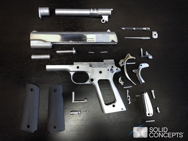 Детали напечатанного на 3D-принтере пистолета Colt M1911 от Solid Concepts