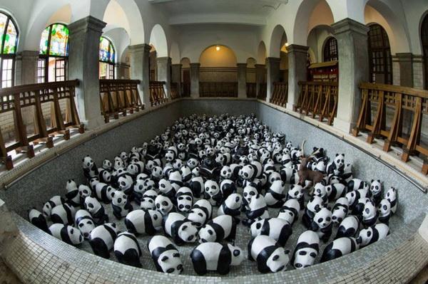 1600 фигурок панд на улицах Гонконга.