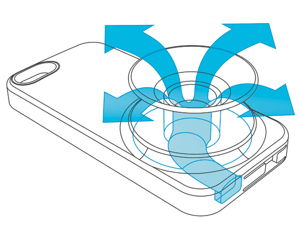 Гибкий элемент в развернутом состоянии работает как спикер.