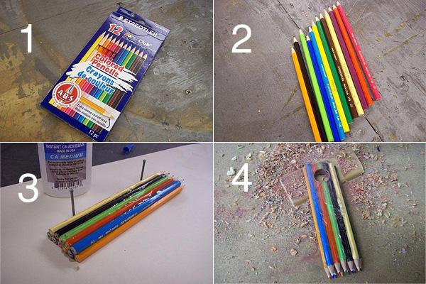 Кольцо из цветных карандашей - этапы работы.