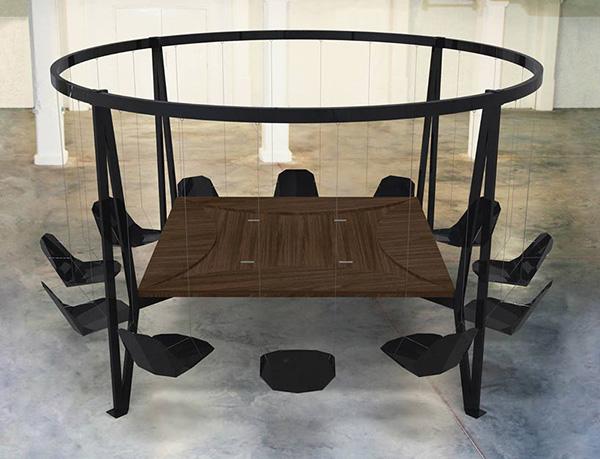 Оригинальный стол из стали.