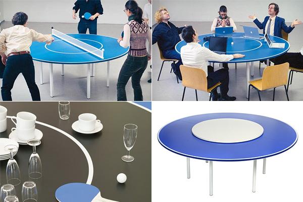 Многофункциональный круглый стол для пинг-понга.