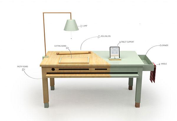 Креативный стол для приготовления пищи.