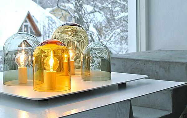 5 стильных светильников из дутого стекла.