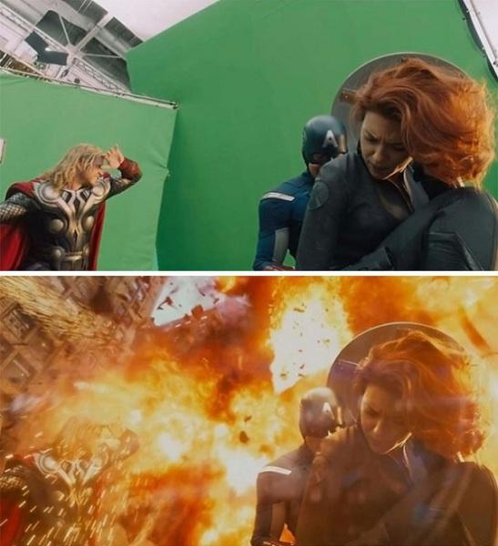 Кадры из фильмов до и после обработки.