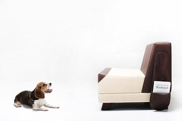 Оригинальный диван, обладающий сходством с маленькой собакой.