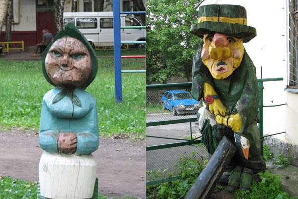 Необычные скульптуры на детских площадках.