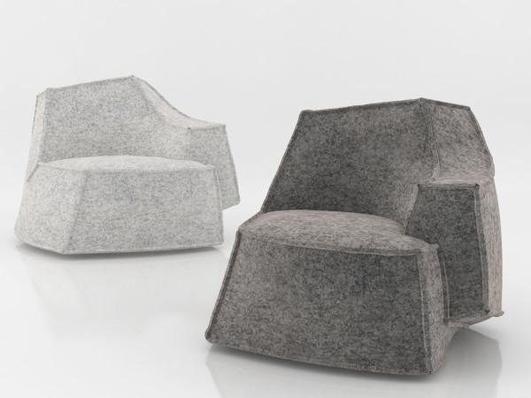 Кресла в форме айсбергов, парящих в воздухе.