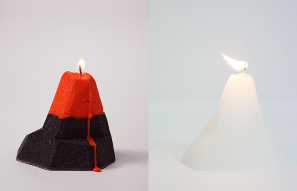 Оригинальные свечи в виде айсберга и вулкана.