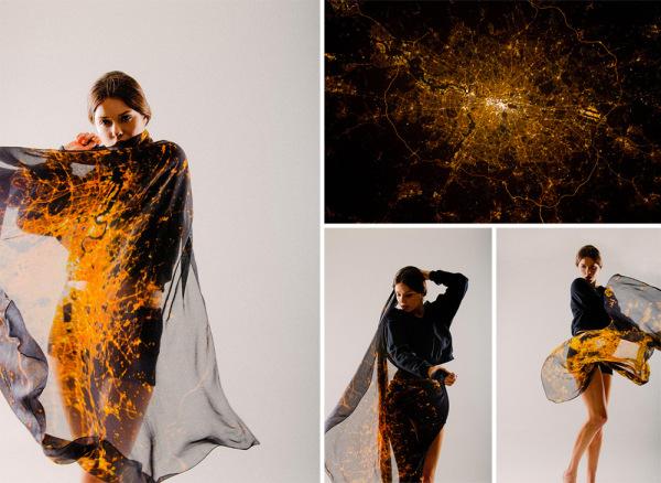 Женские платки с изображениями ночного неба Лондона, Парижа и Нью-Йорка.