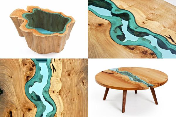 Деревянная мебель со стеклянными вставками, которая напоминает топографические карты.