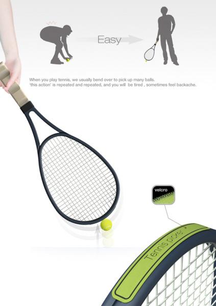 Tennis Picker позволяет подобрать мяч не нагибаясь.