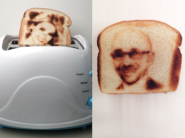 Изображения лиц на хлебе.