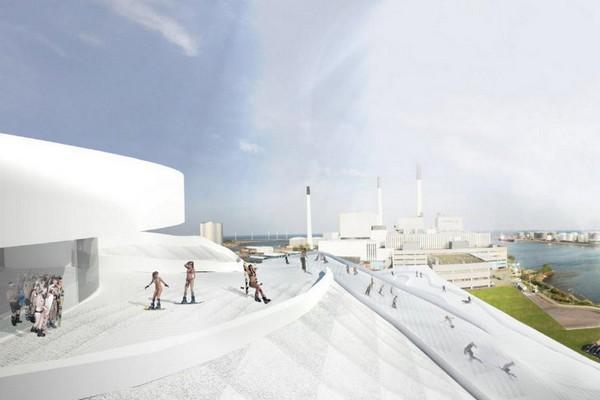 Лыжный курорт на мусоросжигательном заводе в Копенгагене