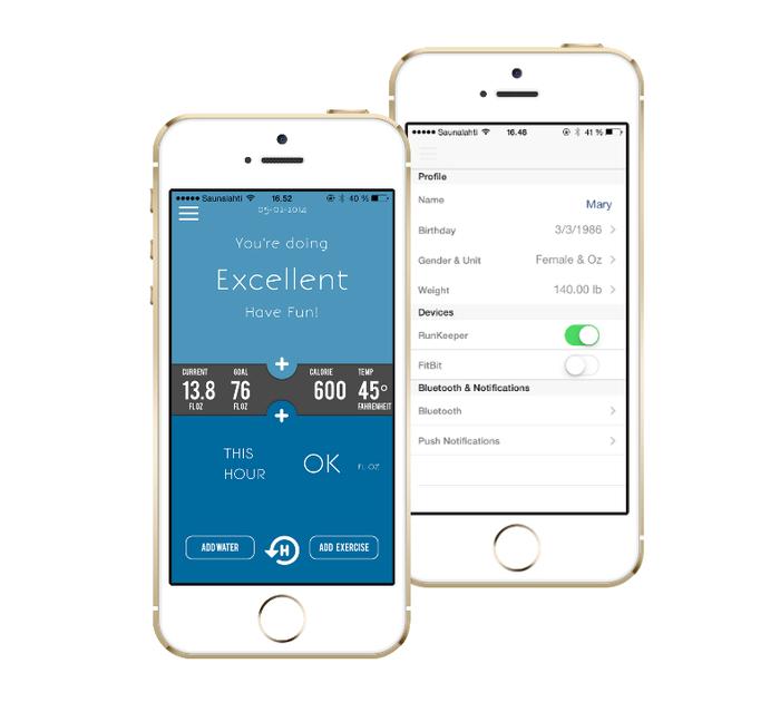 Hug - iOS app. Слева - сводная информация, справа - настройки