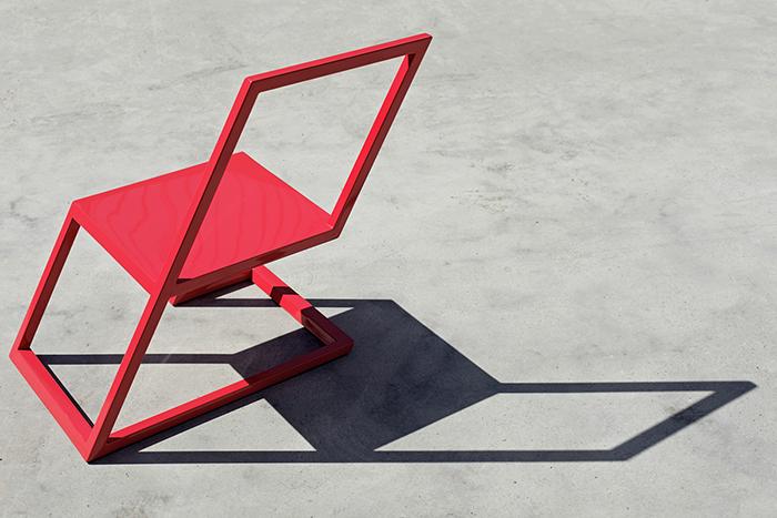 Красный стул от студии XYZ Integrated Architecture.