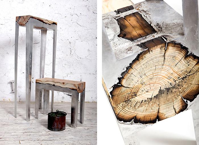 Мебель из дерева и алюминия.