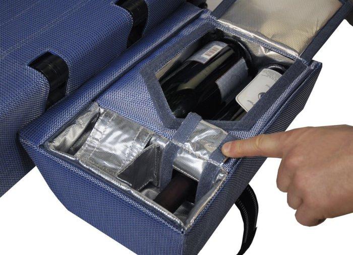 Контейнеры-холодильники вмещают 6 алюминиевых банок или 2 бутылки вина.