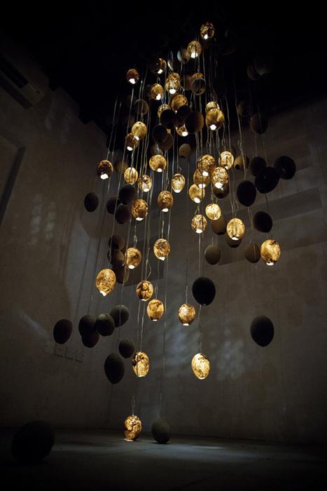 Светильники из песка от Talin Hazber.