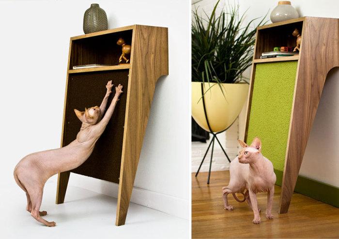 Еще один вариант необычной точилки для кошачьих когтей от modernistcat.