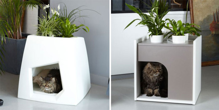 Тумбочка с местом для усатого любимца от Pousse Creative.