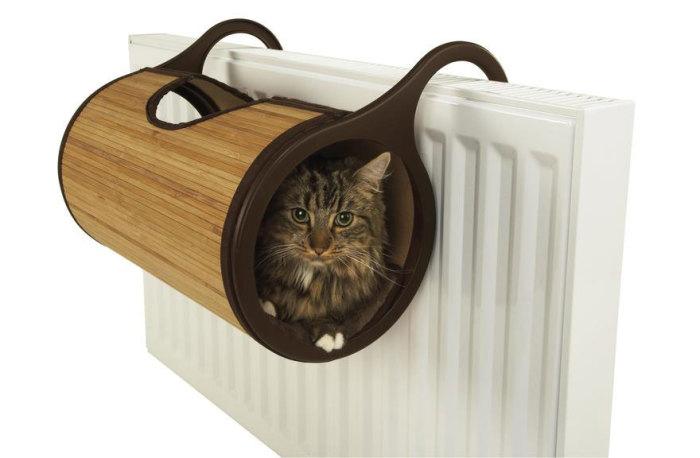 Необычная кошачья постель.