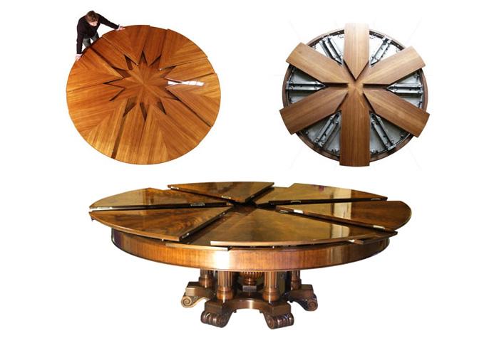 Круглый обеденный стол за $50000, диаметр которого увеличивается в 2 раза при вращении
