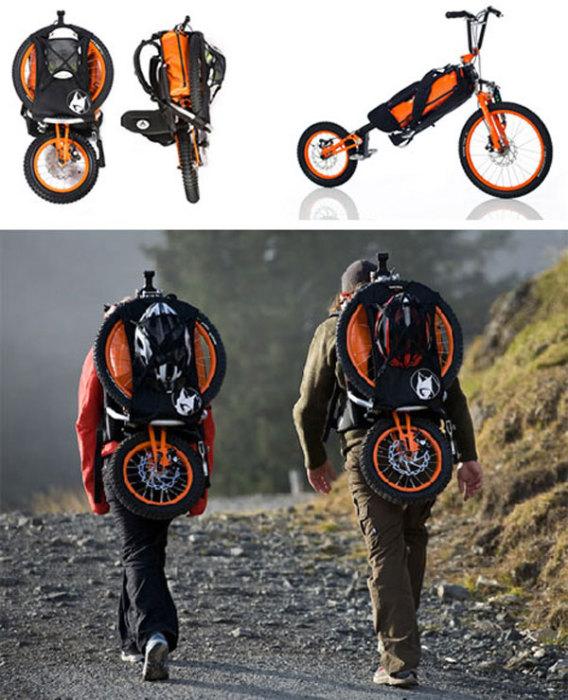Велосипед, который можно легко превратить в рюкзак.