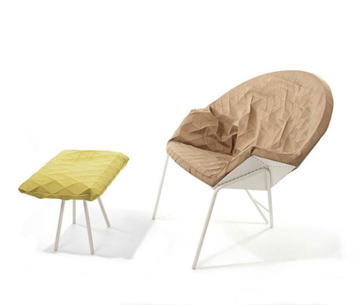 Кресло Poli с уникальной обивкой, распечатанной на 3D-принтере.