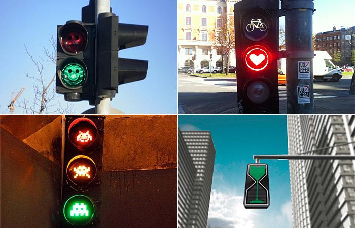 Необычные светофоры в разных городах мира.