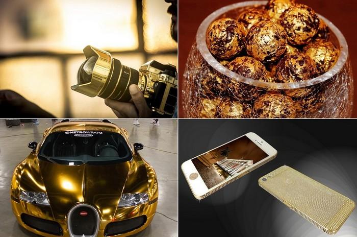 Необычные устройство и аксессуары из золота