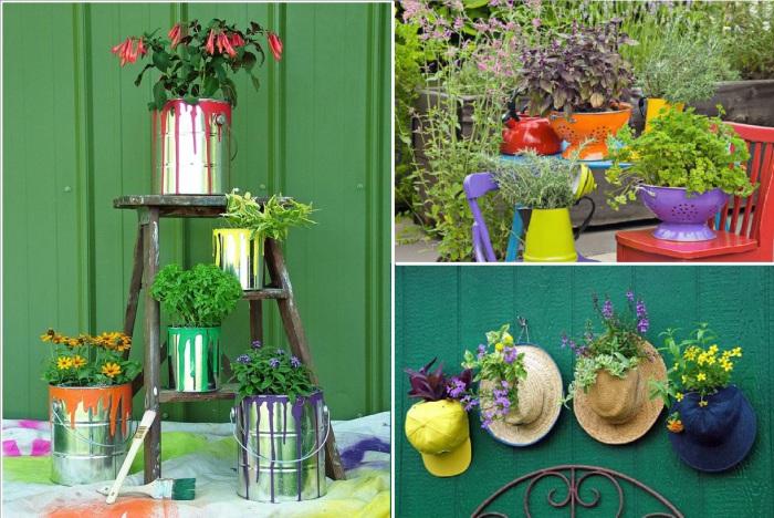 Оригинальные горшки для растений из ненужных вещей.