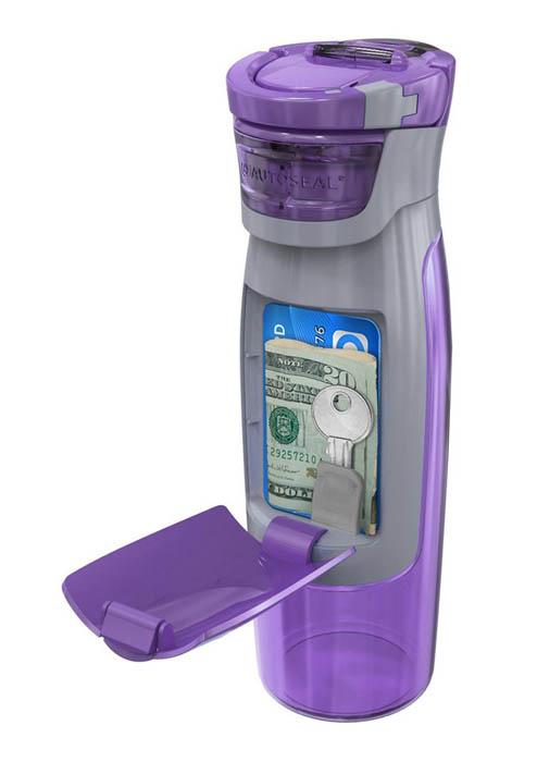 Бутылка воды с отделением для ключей и денег.